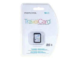 Memorex 16GB SDHC TravelCard Flash Memory Card, Class 10, 99031, 18026129, Memory - Flash