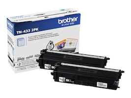 Brother Black TN433 High Yield Toner Cartridges (2-pack), TN4332PK, 37857139, Toner and Imaging Components - OEM