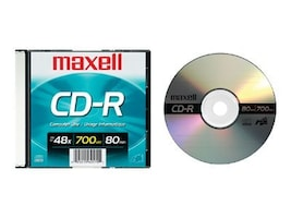Maxell CD-R 48X 80 Minute 700MB with Slim Jewel Case, 648201, 447867, CD Media