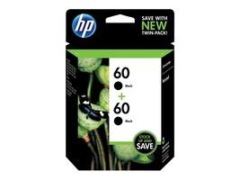 HP 60 (CZ071FN) 2-pack Black Original Ink Cartridges, CZ071FN#140, 12933721, Ink Cartridges & Ink Refill Kits - OEM