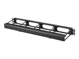 Hubbell Cable Management Duct Panel 1U, 4 Front Extension w  Cover, Black, HM14C, 30871149, Rack Cable Management