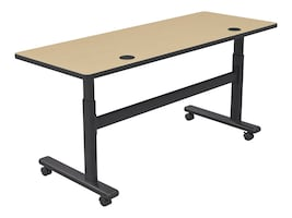 Balt 60w x 24d Height Adjustable Sit Stand Flipper Table, Fusion Maple, 90316-7909-BK, 35717415, Furniture - Miscellaneous