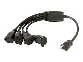 C2G 1 NEMA 5-15P to 4 NEMA 5-15R 16AWG 1-to-4 Power Cord Splitter, 18, 29803, 7712422, Power Cords