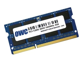 Other World 4GB PC3-12800 204-pin DDR3 SDRAM SODIMM, OWC1600DDR3S4GB, 35023878, Memory