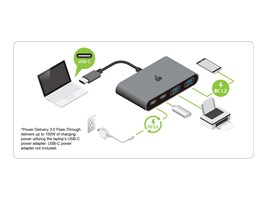 IOGEAR USB-C 10G 4-Port Hub w  100W Power Delivery 3.0 Pass-Through, GUH3C22P, 35681168, USB & Firewire Hubs