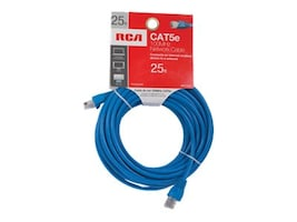 Audiovox RCA CAT5e 100MHz Network Cable, Blue, 25ft, TPH532BR, 16183657, Cables