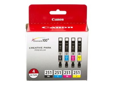 Canon CLI-251 4 Color Pack, 6513B004, 15901258, Ink Cartridges & Ink Refill Kits