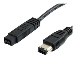 StarTech.com IEEE-1394 Firewire Cable, 9pin to 6pin (M-M), 1ft, 139496MM1, 11556101, Cables