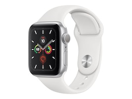 Apple Watch Series 5 GPS, 40mm Silver Aluminum Case with White Sport Band - S M & M L, MWV62LL/A, 37523577, Wearable Technology - Apple Watch Series 4-5