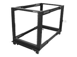StarTech.com Adjustable Depth 12U Open Frame 4-Post Server Rack w  Casters, Levelers, Cable Management Hooks, 4POSTRACK12U, 18008254, Racks & Cabinets