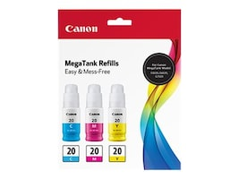 Canon GI-20 Cyan, Magenta & Yellow Ink Bottle Value Pack, 3394C003, 37976980, Ink Cartridges & Ink Refill Kits - OEM