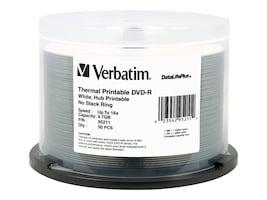 Verbatim 16x 4.7GB DataLifePlus White Thermal Hub Printable DVD-R Media (50-pack Spindle), 95211, 6070659, DVD Media