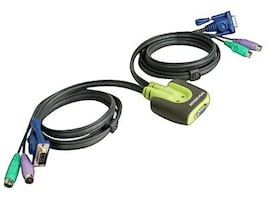 IOGEAR 2-Port MiniView Micro KVM Switch with Built-in 6ft Cables, GCS62, 5104546, KVM Switches