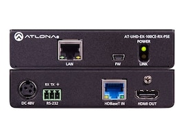 Atlona 4K UHD HDBaseT Receiver with Ethernet, Control and PoE, AT-UHD-EX-100CE-RX-PSE, 32673808, Video Extenders & Splitters