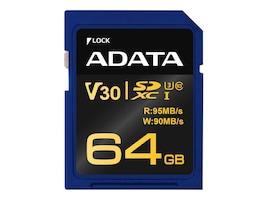 A-Data 64GB Premier Pro V30G UHS-I U3 SDXC Card, Class 10, ASDX64GUI3V30G-R, 36587667, Memory - Flash