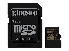 Kingston 16GB Gold microSDHC UHS-I Speed Class 3 with SD Adapter, Class 10, SDCG/16GB, 33828040, Memory - Flash