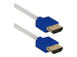 QVS High Speed UltraHD 4K HDMI Thin Flexible Cable with Ethernet, White Blue, 10ft, HDT-10FB, 32094208, Cables