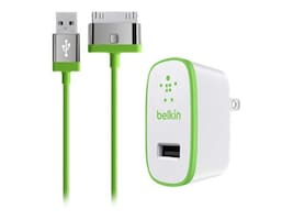 Belkin Home Charger for iPad, 10W 2.1A, 30-pin Cable, Green, F8J141TT04-GRN, 17742060, Battery Chargers