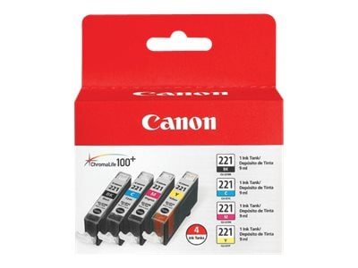 Canon CLI-221 4-Color Pack, 2946B004, 8976307, Ink Cartridges & Ink Refill Kits - OEM