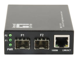 CP Technologies RJ45 to SFP Gigabit Media Converter Switch w 2xSFP, 1xRJ45, GVT-2011, 35059651, Network Transceivers