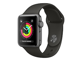 Apple Watch Series 3 GPS, 38mm Space Gray Aluminum Case, Black Sport Band, MQKV2LL/A, 34575671, Wearable Technology - Apple