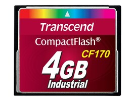 Transcend 4GB CF170 Industrial CompactFlash Car, TS4GCF170, 21327029, Memory - Flash