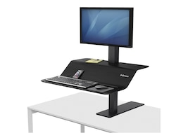Fellowes Lotus VE Single Display Steel Sit-Stand Workstation, Black, 8080101, 34960405, Furniture - Miscellaneous