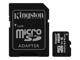 Kingston 16GB Industrial microSDHC UHS-I Flash Memory Card with SD Adapter, Class 10, SDCIT/16GB, 31860847, Memory - Flash