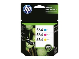 HP 564 (N9H57FN) Cyan Magenta Yellow Original Ink Cartridge Combo Pack, N9H57FN#140, 30806902, Ink Cartridges & Ink Refill Kits - OEM