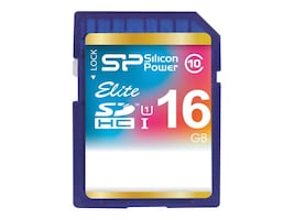Silicon Power 16GB Silicon Power Elite SDHC Class 10 UHS-1 Memory Card, SP016GBSDHAU1V10, 24283703, Memory - Flash