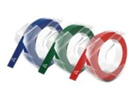 DYMO 10mm x 3m Assorted Embossing Tape - Variety of Colors, 1741671, 12070153, Paper, Labels & Other Print Media