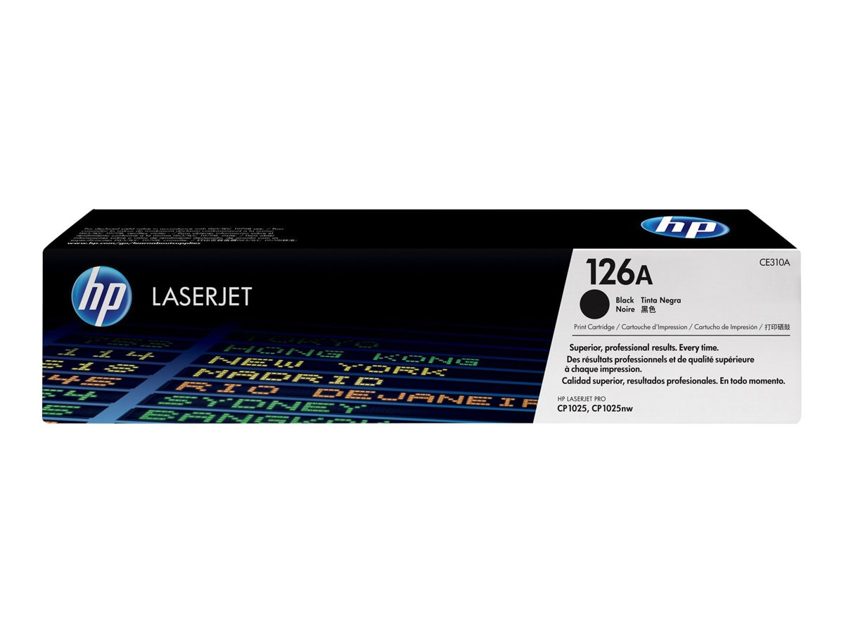 HP 126A (CE310A) Black Original LaserJet Toner Cartridge for HP CP1000 Series & HP LaserJet Pro 100, CE310A, 12052676, Toner and Imaging Components