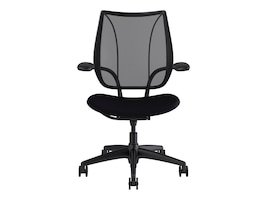 Humanscale Liberty Task Chair with Adjustable Duron Arms, Monofilament Stripe Black Back, Corde 4 Black Seat, L111BM10CF10, 34222947, Furniture - Miscellaneous