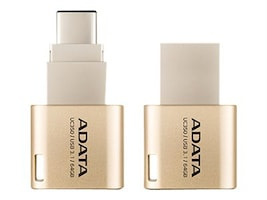 A-Data 64GB UC350 USB 3.1 Type C USB Type A Flash Drive, Gold, AUC350-64G-CGD, 31888938, Flash Drives
