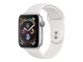 Apple Watch Series 4 GPS+Cellular, 44mm Silver Aluminum Case with White Sport Band, MTUU2LL/A, 36143599, Wearable Technology - Apple