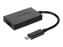 Lenovo USB Type C to HDMI M F Plus Power Adapter, Black, 4X90K86567, 32397727, Adapters & Port Converters
