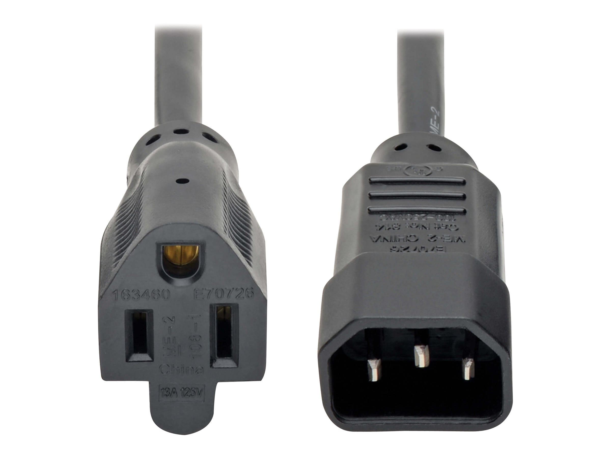 New C14 to Nema 5-15R PDU USP Power Adapter IEC Male to US Female Adapter Plug