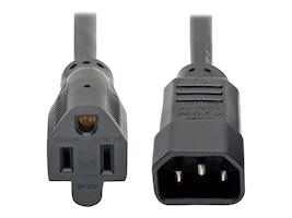 Tripp Lite AC Power Adapter Cord IEC-320 C14 to NEMA 5-15R 125V 10A 18AWG SJT Black 1ft, P002-001-10A, 16275762, Power Cords