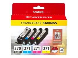 Canon PGI-270 CLI-271 CMYK 4-Cartridge Combo Pack, 0373C005, 32492601, Ink Cartridges & Ink Refill Kits - OEM