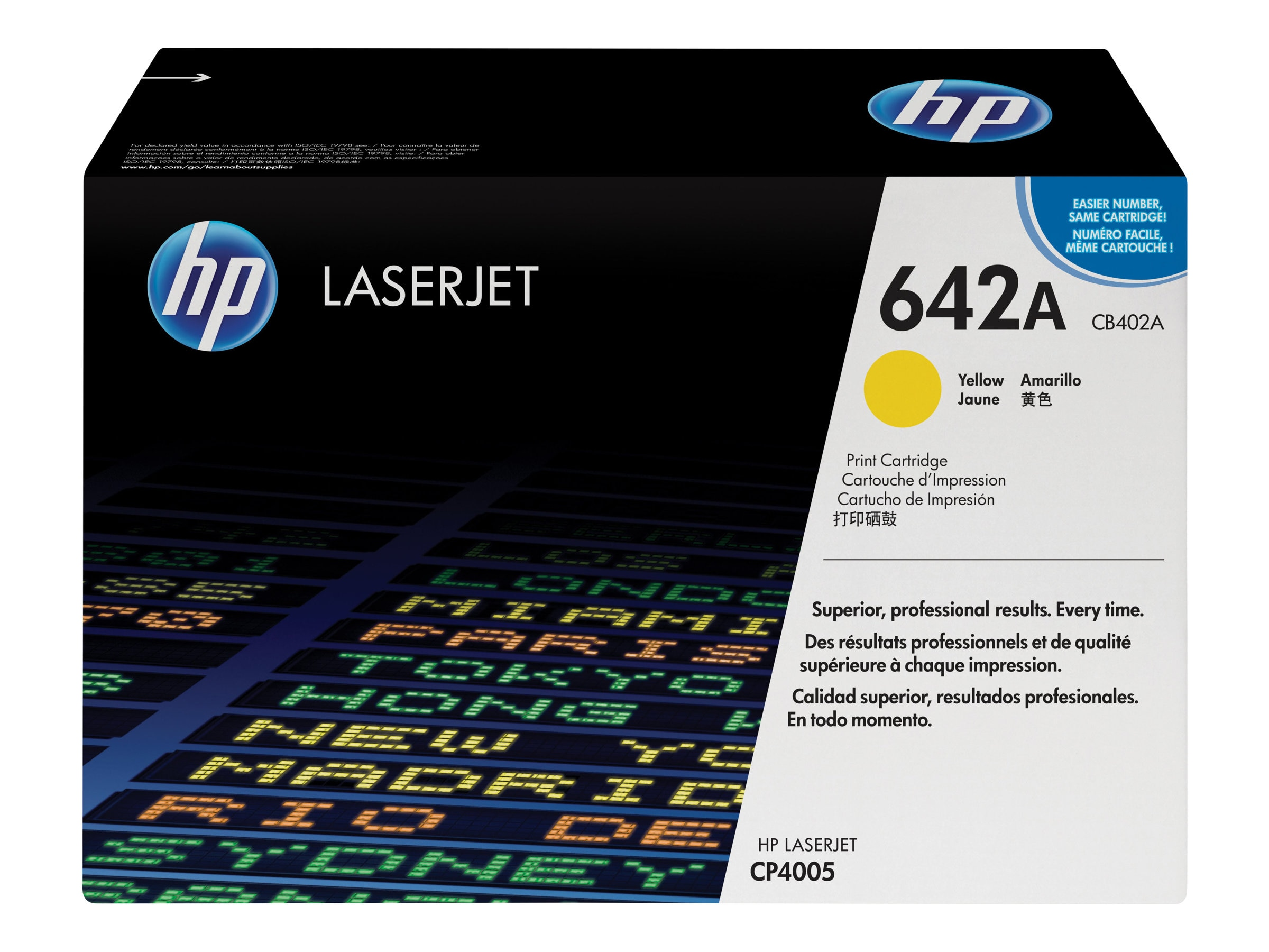 HP 642A (CB402A) Yellow Original LaserJet Toner Cartridge for HP LaserJet CP4005 Printer, CB402A, 7176228, Toner and Imaging Components