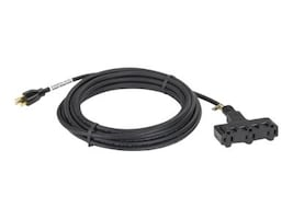 Black Box Indoor Outdoor Extension Cord, Triple Outlet, 14 3 Grounded, Heavy Duty, Black 25ft, EPWR62, 5974824, Power Cords