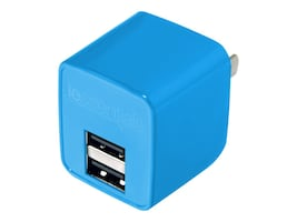 Mizco 2.1A Dual USB Home Wall Charger, Blue, IEC-ACP2U-BL, 30862824, Battery Chargers