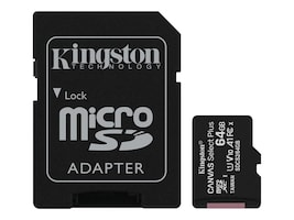 Kingston 64GB MicroSDXC Canvas UHS-I Select Plus Memory Card with SD Card, Class 10, SDCS2/64GB, 37691052, Memory - Flash