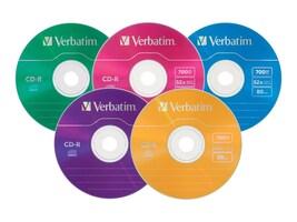 Verbatim 700MB 52x Color CD-R Media in Matching Color Slim Cases (25-pack), 94611, 5385069, CD Media