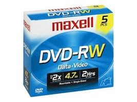 Maxell 4.7GB DVD-RW Media (5-pack Jewel Cases), 635125, 6796433, DVD Media
