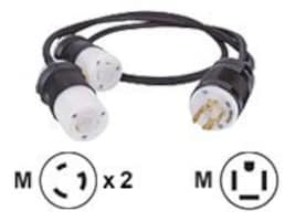 Eaton Power Splitter Cable, L14-20P to (2) L5-20R, 4ft, CBL148, 10166266, Power Cords