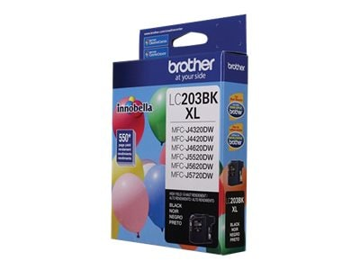 Brother Black LC203BK High Yield Ink Cartridge, LC203BK, 17539504, Ink Cartridges & Ink Refill Kits - OEM