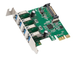 Syba 4-Port USB 3.0 PCIe 2.0 x1 Card, SD-PEX20159, 34157831, Controller Cards & I/O Boards