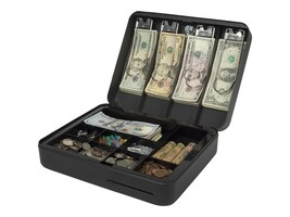 Royal Sovereign Deluxe Steel Cash Box, 4-Bill 9-Coin Removable Tray, Security Locked, RSCB-300, 34603395, Cash Drawers