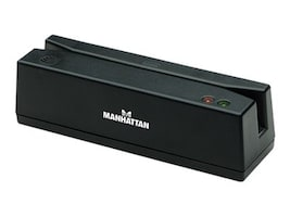 Manhattan USB Magnetic Strip Card Reader, Black, 460255, 16851926, PC Card/Flash Memory Readers
